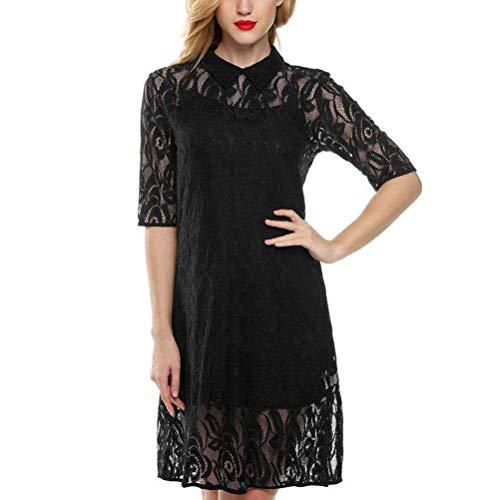 Vestidos Moda Mujer Elegante 2019 Style Stand Collar Mode De Marca Mujer Encaje Dos Piezas Versa Slim Dress Vestido Verano (Color : Negro, Size : L)
