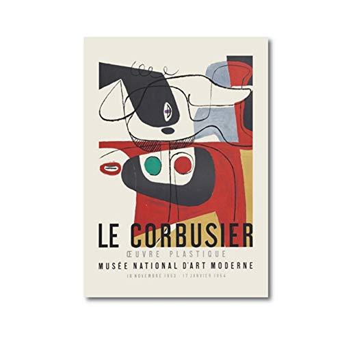 Le Corbusier Exhibition Poster 1954 Museo de Arte Francés Imprimir Cubismo Estilo Mediados de siglo Arte de la pared Pintura de la lona Decoración-60x80cm Sin marco