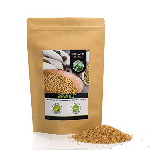 Semi di senape (1kg), semi di senape gialli e bianchi 100% naturali, essiccati delicatamente, semi di senape senza additivi, vegani