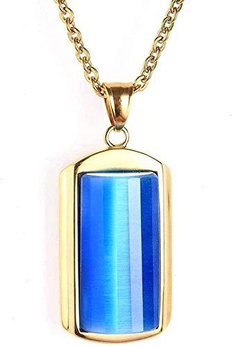 ZHIFUBA Co.,Ltd Collar, Collar, joyería, Acero, Collar de Mujer, Moda, ópalo, Titanio, Acero, Colgante, Collar, Blanco-Azul, Regalo para Mujeres, Hombres