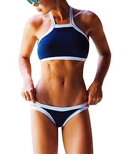 DFXIU Pad Sportivo Sexy Donna Bikini Copricostume Costume Donna Mare Due Pezzi Ragazza Mare Costume da Bagno Nero Blu(EU28-36)