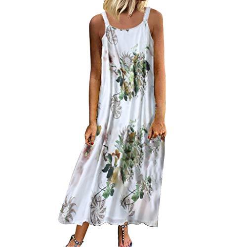 Lialbert Dame Rundhals Strap Dress Blumenmuster Strandkleid Elegant Camisole-Kleid Maxikleider Blumendruck T-Shirt-Kleid GroßE GrößE ÄRmellos Swing-Kleid Rock Kleider Tunika