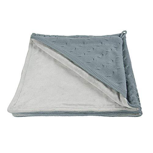 BO Baby's Only - Kapuzendecke Nickistoff Cable - Stonegreen - 75x75 cm - 50% Baumwolle/50% Polyacryl