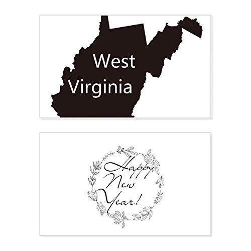 Virginia Amerika USA West Karte Silhouette Silhouette Neujahr Karte Gedenkkarte Segen Nachricht