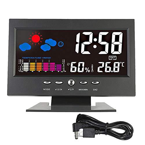 gipoiSD LCD Indoor Digital Wecker Kalender Wetterstation Schreibtisch Uhr Meter Barometer