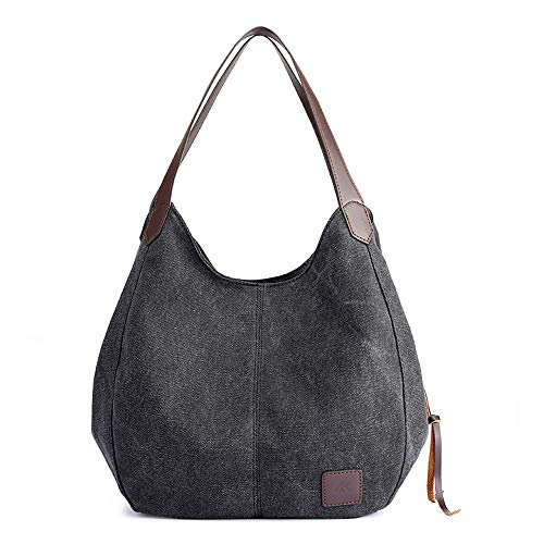 Canvas Handtasche Fashion Damen Schultertasche Multi-Beutel Tasche Henkeltaschen Shopper, Schwarz