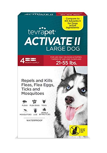 TevraPet Activate II Flea and Tick Prevention for Dogs | 4 Months Supply | Large Dogs 21-55 lbs | Medicine for Treatment and Control | Topical Drops