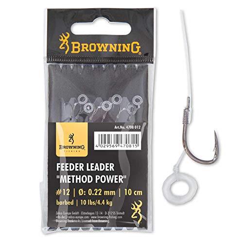 Browning Bronze 12 Feeder Leader Method Power Pellet Band 10lbs,4,5kg Ø0,22mm 10cm 6Stück