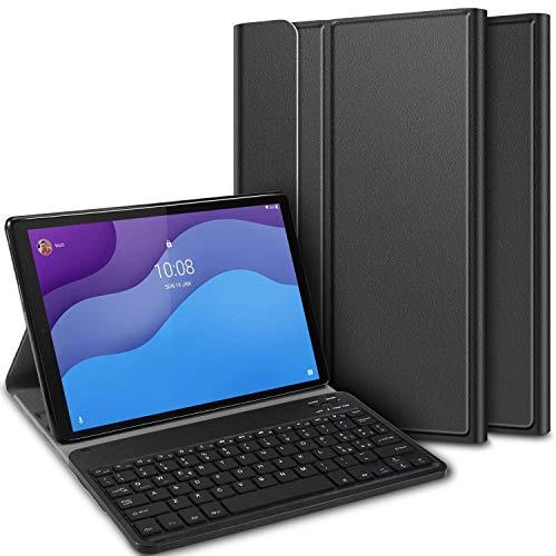 ELTD Tastiera Custodia per Lenovo Tab M10 HD (2nd Gen) TB-X306X/TB-X306F, [Layout Italiano(é.ç .§)], Custodia con Rimovibile Wireless Keyboard Tastiera per Lenovo Tab M10 HD 2020, Nero