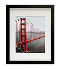 Modern Design: 11x14 Black Picture Frame for 8x10 Golden Gate Bridge In San Francisco As The Famous Landmark Wall Art Decor Giclee Photo Print With an Ivory Color Mat ATTRACTIVE DECORATION: Black Photo Frame makes the artwork seem lofty. A great choi...