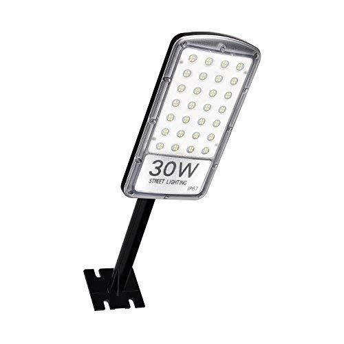 Rugging Farola LED de 30 W, luz de estacionamiento, IP67, resistente al agua, 3000 lm, luz de inundación superbrillante para calle, jardín, camino, patio, parque de juegos (color blanco)