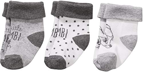 Golden Lutz - 3 Paar Baby Mädchen Socken Söckchen Erstlingssocken (grau, Bambi, Gr. 19-22)  Disney