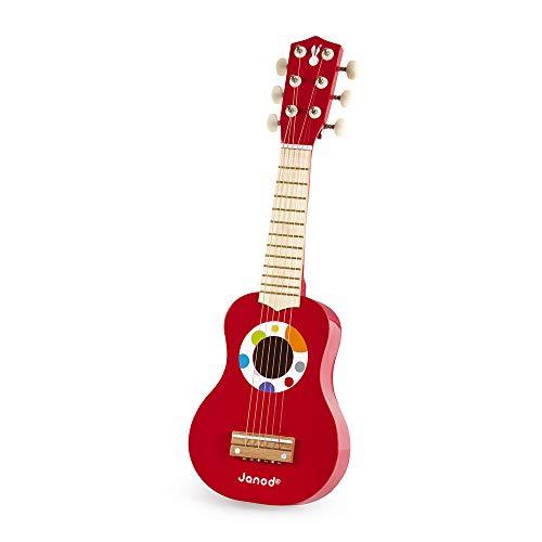 Janod - J07628 - Mi primera guitarra de la colección Confeti, instrumento musical multicolor de madera, juguete musical para niños a partir de 3 años