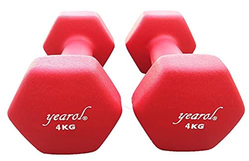 Yearol  P04 Mancuernas y Pesas de Neopreno Antideslizante. 2kg, 3kg, 4kg y 5kg. Juego de 2 Pesas. Tu Gimnasio en casa. (2 x 4 kg)
