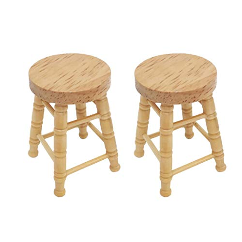 Coohole 2PCS 1:12 Dollhouse Miniature Furniture Mini Wooden Exquisite High Stool Pretend Play Educational Toy Doll House Decoration Accessories Holiday Best Gift for Children Kids
