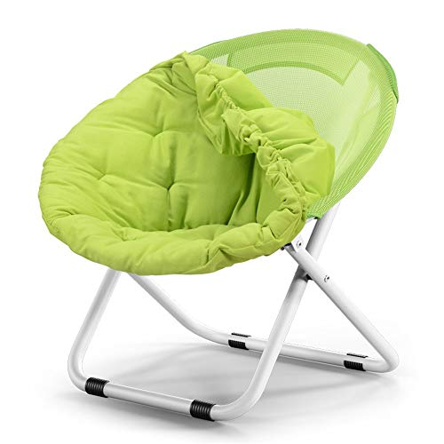 JOMSK Comfortable Padded Lazy Sofa Moon Chair Sun Lounger Sunbed Garden Beach Folding Portable Compact Footstool Durable Strong (Color : Green, Size : 80 * 51 * 76cm)