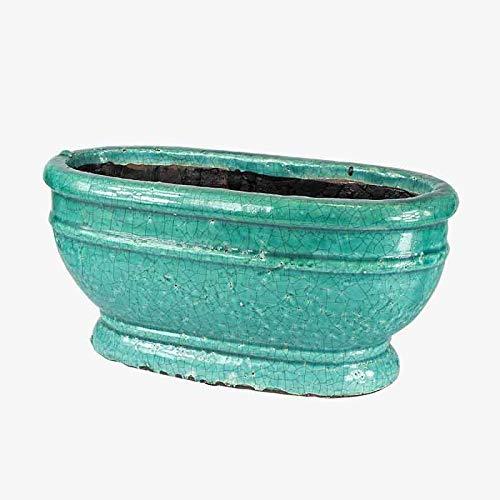 Better & Best Blumenkasten aus Terrakotta, oval, klein, Blau, Maße 33 x 14 x 15,5 cm