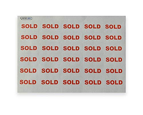 Geen Fuss Labels 'Verkocht' Stickers. Hoeveelheid van 480 hoogwaardige en duurzame etiketten. Hoogwaardig product.