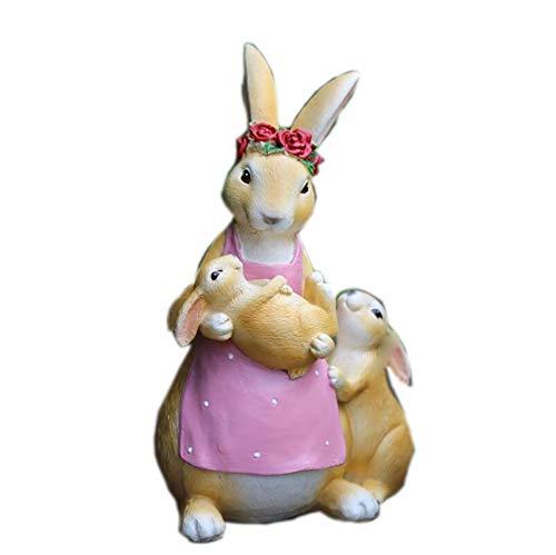 Jambala Decoraciones del jardín, Conejo decoración del jardín de esculturas, artesanías de pequeño Volumen, de Resina de simulación Animales (Color : B)