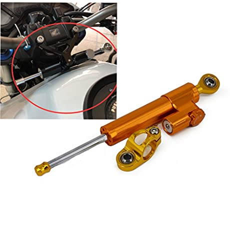 USTPO - Stabilizzatore universale per ammortizzatore di sterzo regolabile in alluminio, adatto per la maggior parte delle moto Yamaha Suzuki K.T.M Kawasaki scooter, corpo arancione testa dorata.