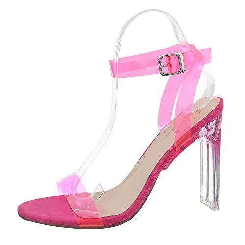 Ital-Design Damenschuhe Sandalen & Sandaletten High Heel Sandaletten Synthetik Pink Gr. 37