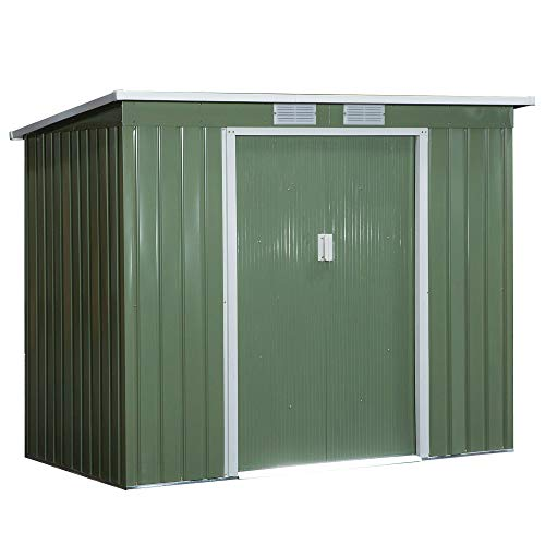 Outsunny 7 x 4ft Metal Garden Storage Shed w/Foundation Double Door Ventilation Window Sloped Roof Outdoor Equipment Tool Storage 213 x 130 x 173 cm