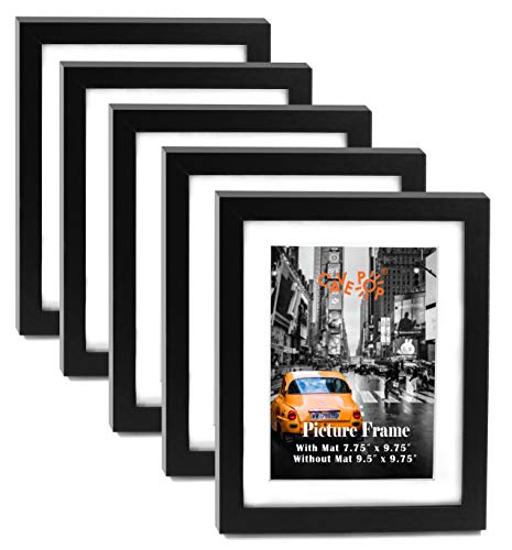 "8x10"" Black Wood Textured Picture Frame Set of 5, 8x10 Large Picture Frames with Mat (With Mat 7.75 x 9.75""; Without Mat 9.5 x 11.5""), Gallery Wall 8x10 Hanging Picture Frames Set for Living Room"