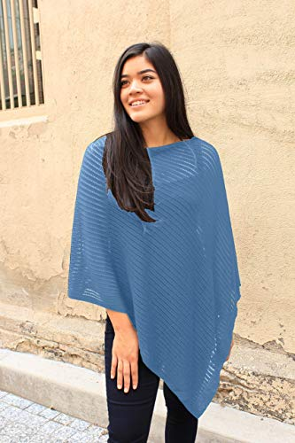 Airy Poncho, Women's Tall, Mesh Poncho, Summer Wrap, Blue