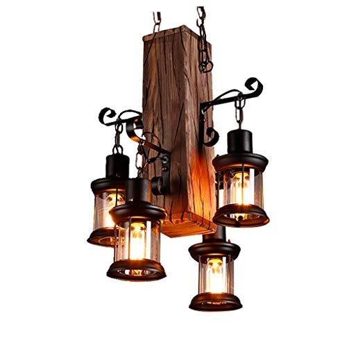 DOCJX Kreativ retro Holz Pendelleuchte Industrielle Loft Bar Hängeleuchte 4 Lichter Vintage Antik Glas Dekorativer Hängelamp E27 Leuchtmittel Pendellampe geeignet für Wohzimmer Küche Wohnzimmer