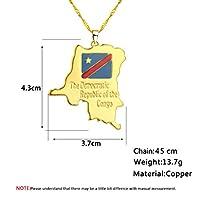 LOOL コンゴ民主共和国マップ小ペンダントネックレスゴールドカラー DRC ジュエリーエスニック国地図ネックレス