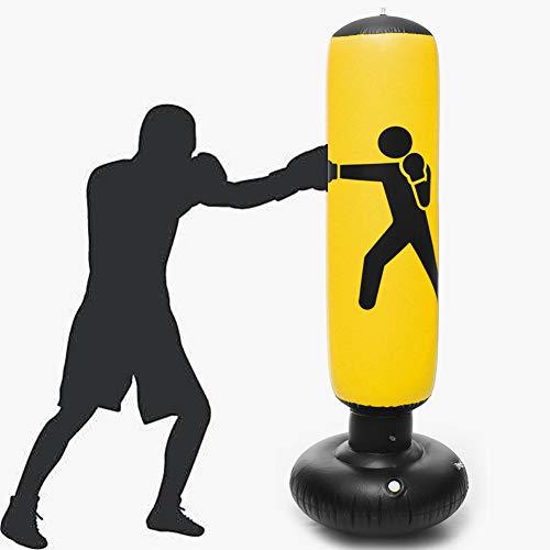KKOODLL Aufblasbare Boxsäule breites Chassis Damen Junge Kampfkunst Anzug Muay Thai Becher stehend Boxsack Dekompression Sandsack