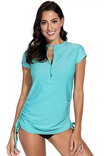 BesserBay Camiseta de manga corta para mujer con protección solar UV con cremallera de...