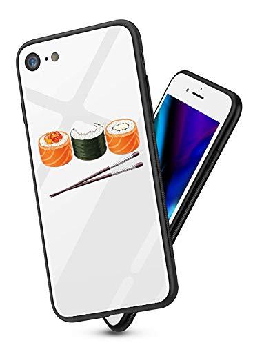 Alsoar Cover Compatibile per iPhone 6 Cover,Custodia Protettiv in Bianco Vetro Temperato e Nero Silicone con iPhone 6S,Originale Cover per Antiurti Paraurti-Non Diventerà Giallo (Sushi)