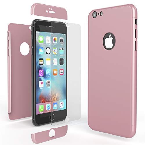 NALIA 360 Grad Handyhülle kompatibel mit iPhone 6 / 6s, Full-Cover & Glas vorne hinten Rundum Hülle Doppel-Schutz Dünn Ganzkörper Hard-Case Etui Handy-Tasche Bumper & Displayschutz, Farbe:Rose Gold