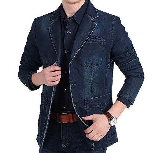 Chaqueta de traje de mezclilla para hombre Chaqueta de traje retro de algodón de moda para hombre Chaqueta azul para hombre Chaqueta de mezclilla Chaqueta de traje de mezclilla delgada para ho