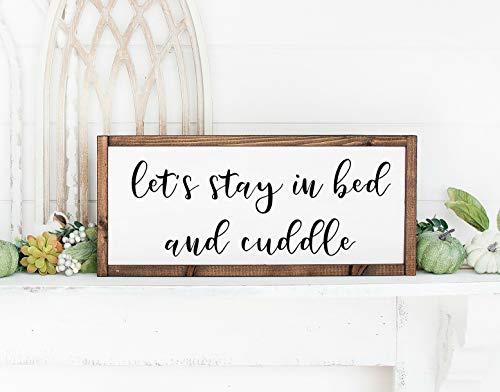 Yor242len Let's Stay In Bed And Cuddle, Above The Bed Sign, letrero de dormitorio, decoración de dormitorio de granja, letrero de dormitorio de granja, Let's Stay Home, letrero de abrazo.