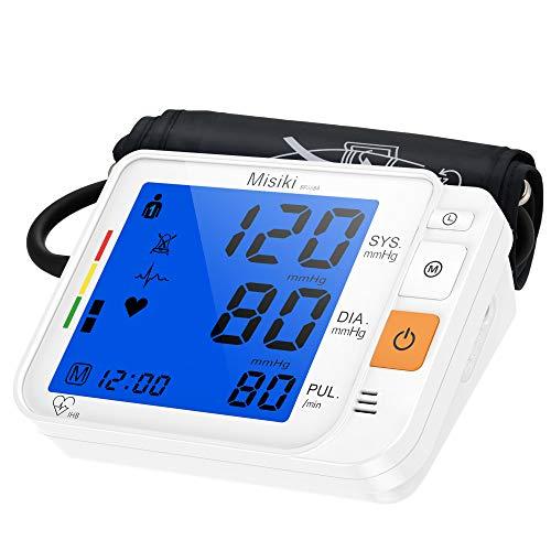 Sfigmomanometro Elettronico da Braccio Misiki Pressione Misuratore Digitale Misuratore Pressione Sanguigna da Braccio Misurare Pressione Arteriosa e frequenza cardiaca, Grande Schermo LCD, 240 Memoria