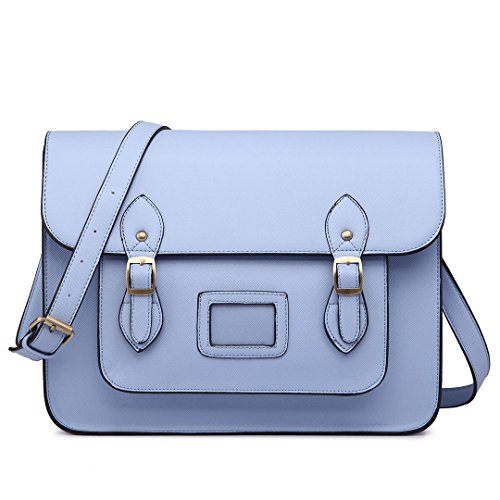 Bags & Purses Miss Lulu Brand Vintage Designer Faux Leather Work Briefcase Satchel Bag School Bag (Light Blue), Medium