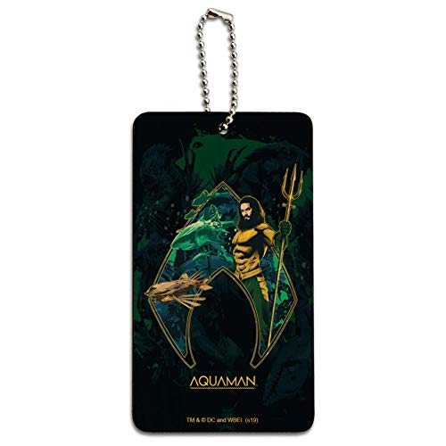 Aquaman Movie Atlantis Logo Wood Luggage Card Suitcase Carry-On ID Tag