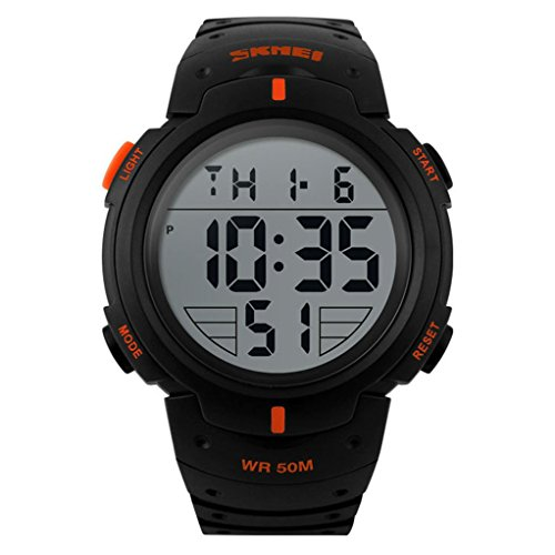 SKMEI Reloj deportivo digital militar para hombre con diseño de moda, pantalla LED electrónica, resistente al agua, color rojo, modelo 1068
