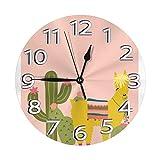 Mailine Boho Llama Cactus Reloj de Pared Tropical Relojes Decorativos Impermeables Reloj Ligero con manecillas de números Romanos Reloj de Pared Redondo Duradero