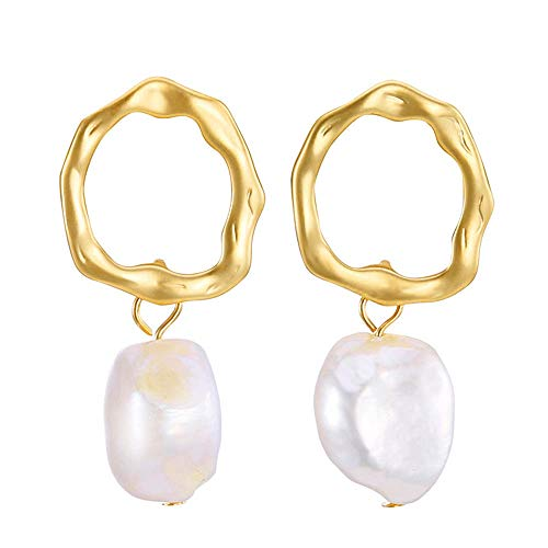 SENGUFENG Baroque Freshwater Pearl Gold Plated Simple Drop Dangle Stud Earrings Jewelry for Women Girl (Style1) Baroque Pearl Drop Earrings
