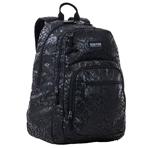 "Kenneth Cole Reaction Printed Dual Compartment 16"" Laptop & Tablet Backpack for School, Travel, & Work, Black Leopard, Laptop"