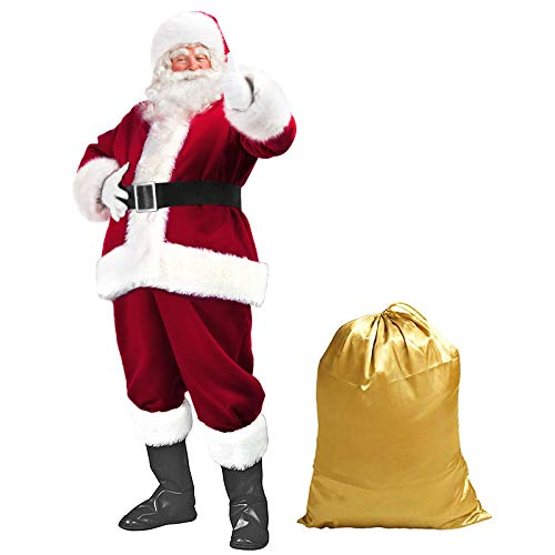 Garne T Santa Suit Christmas Santa Claus Costume for, Red Wine, Size One Size