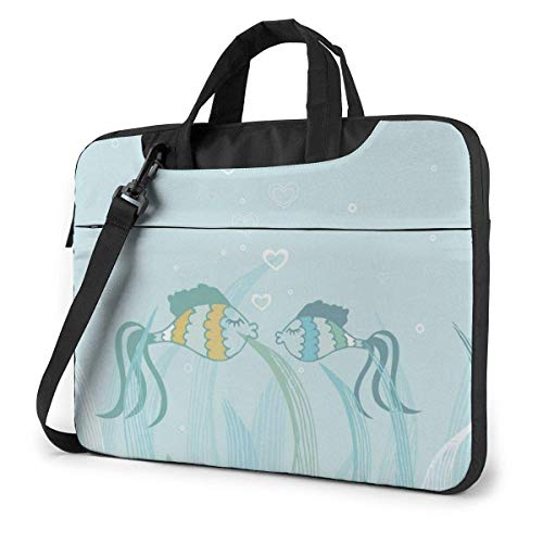 Fish Icon Laptop Sleeve Case 13 Inch Computer Tote Bag Shoulder Messenger Briefcase for Business Travel