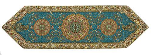 LPUK Termeh Tischläufer, persischer exquisiter Teppich Stil Tapisserie Tischläufer Serie 2, Blaugrün, Größe: 157 cm x 46 cm