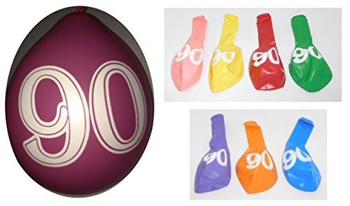 Lot 20 Ballons 90 ans Multicolore 31cm Decoration Anniversaire