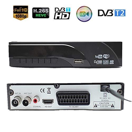 Ashey TDT HD Set Top Box Receptor Plus grabadora para DVB-T2 Receptor Digital Terrestre es Compatible con Dolby AC3 H.265 / HEVC DVB-T H265 HEVC DVB T2