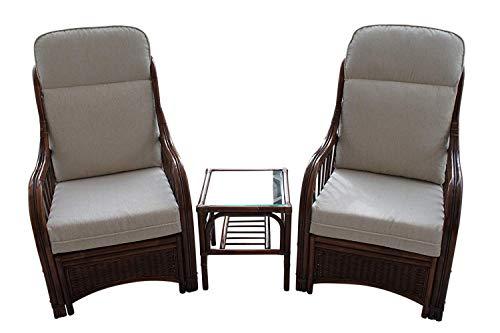 Garden Market Place Verona-Juego de 2 sillas y Mesa Auxiliar, Color Crema, 119 X 80 X99
