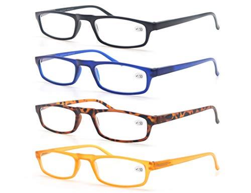 Un Pack de Cuatro Gafas de Lectura 2.0 para Hombres/Mujeres - Lente Clara,Vision Clara - Moda,Practicas,Ligeras,Comodas,Colores Negro-Azul-Marron-Amarillo